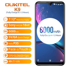 "OUKITEL K9 K 9 7.12 ""אנדרואיד 9.0 הסלולר 4GB 64GB MT6765 Smartphone 6000mAh 5V/6A נייד טלפון אוקטה Core OTG פנים מזהה 8MP/16MP"