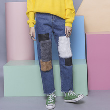 Fashion street HARAJUKU vintage patchwork color block PU velvet applique midsweet flash bf loose jeans