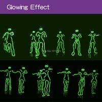 Kafatası Şok Parti Işıkları Led Neon Iskelet Giysi ile Gözlük Rave Kostüm Partisi, Tasfiye Seçim EL Tel Komik Glow Suits