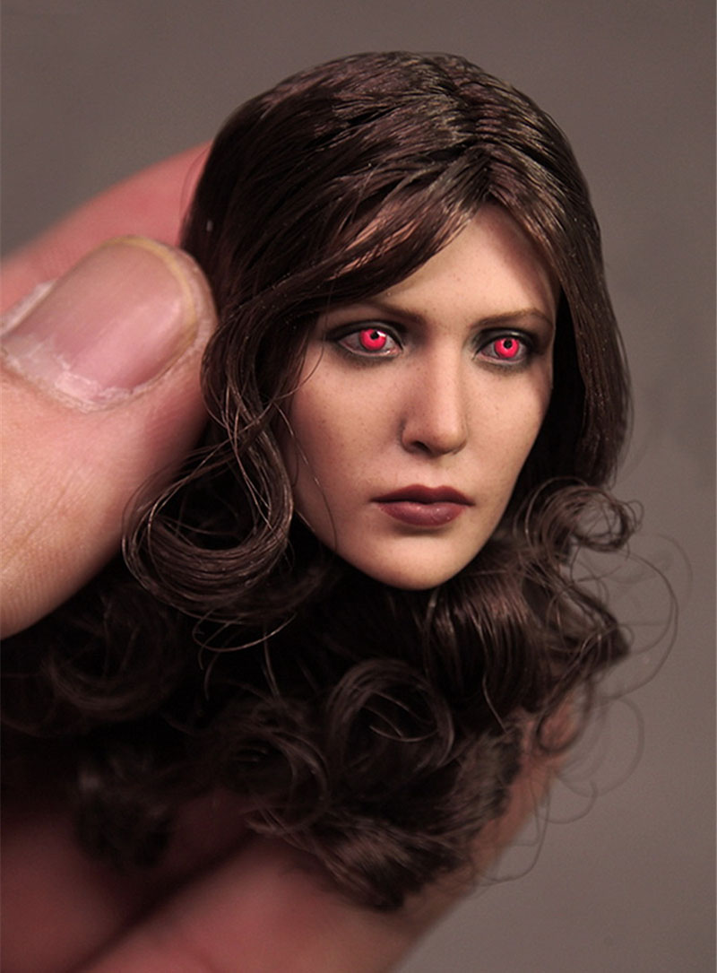 Mnotht 1/6 Female Solider Head Carving Avengers Scarlet Witch eye Carved Head For 12in Figures l25 mnotht 1 6 female solider head model batman catwoman head carved cgt for 12in figures l25