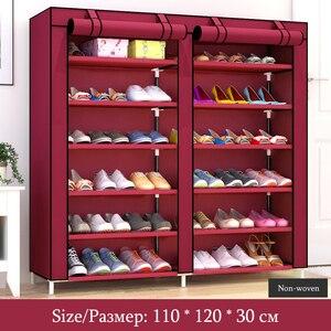 Image 3 - Armario de almacenamiento de zapatos grande de doble hilera, estante organizador de zapatos de tela no tejida, montaje DIY, estantes para zapatos a prueba de polvo
