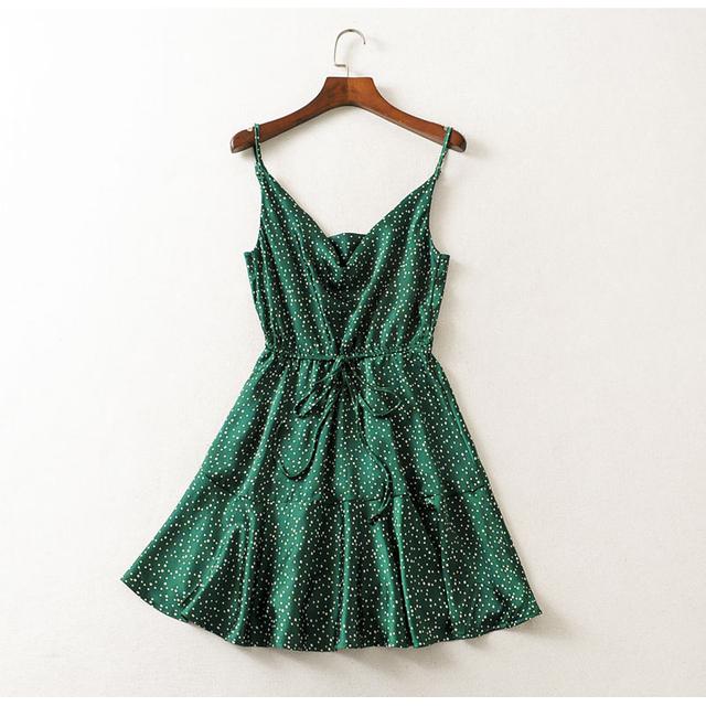 Backless Summer Dresses Green Polka Dot Sexy Strap
