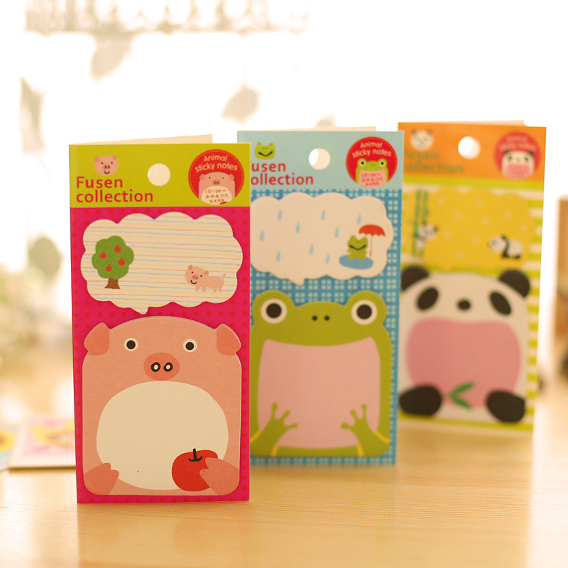 8 pcs self-adhesive momo pad stationery fresh and lovely cartoon animal N with post message note book 13.7*6.6cm