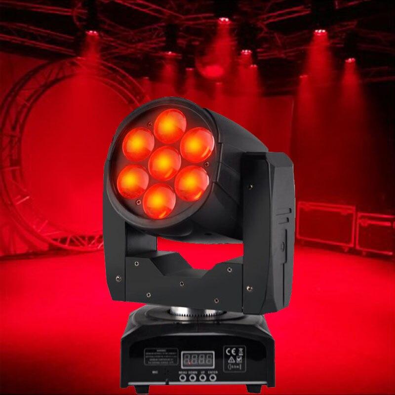 Işıklar ve Aydınlatma'ten Sahne Aydınlatması Efekti'de Yüksek Kalite 7x12 W Yakınlaştırma Yıkama Işıkları Mini LED Yıkama Hareketli Kafa Işık RGBW 4in1 Dört Profesyonel DJ disko DMX Sahne Aydınlatma title=