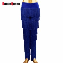 2018 Arrival Latin Fringe Dance Pants For Dance Black/Blue Tassel Baile Latino Dancewear Fitness Clothes DQ4077 Free Shipping