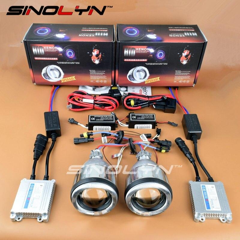 SINOLYN Motorcycle Headlight Angel Eyes Halo HID Bi-xenon Projector Lens Retrofit DIY Kit For Yamaha R1 R6 R15 FZ1 FZ6 CBR600RR цена