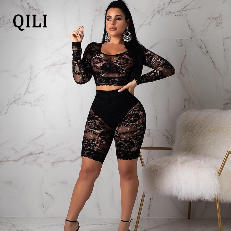 5719389d8d7 2019 QILI Sexy See Through Lace Jumpsuit Rompers Women Long Sleeve ...