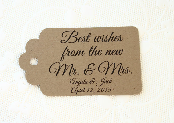 personalized printed Best Wishes thank you favor Gift tags ...