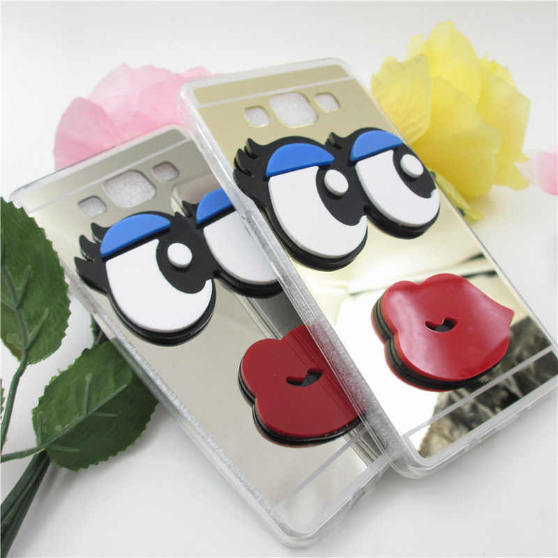 YRFF <font><b>Fundas</b></font> Luxury 3D Cute <font><b>sexy</b></font> eyes Lips Mirror Case For Samsung galaxy J5 <font><b>J7</b></font> <font><b>2016</b></font> 2015 Note 2 note 3 note4 phone case cover image
