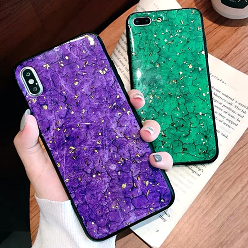 Luxury Gold Foil Bling Marble Phone Cases For Huawei Honor 8 Case Soft TPU Silicone Cover For Honor 8 Luxury Glitter Case in Fitted Cases from Cellphones Telecommunications
