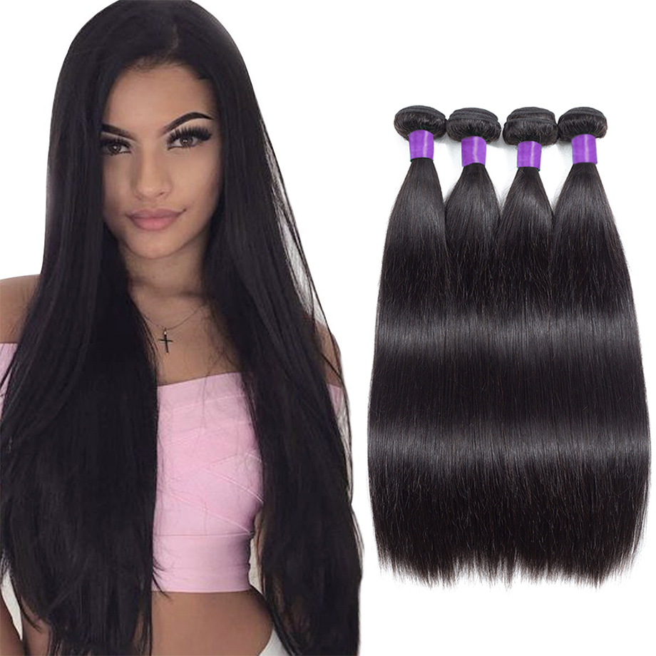 Peruvian Straight Hair Bundles 100% Human Hair Weave Bundles With Closure Remy Hair Extensions double weft Piaoyi Hair
