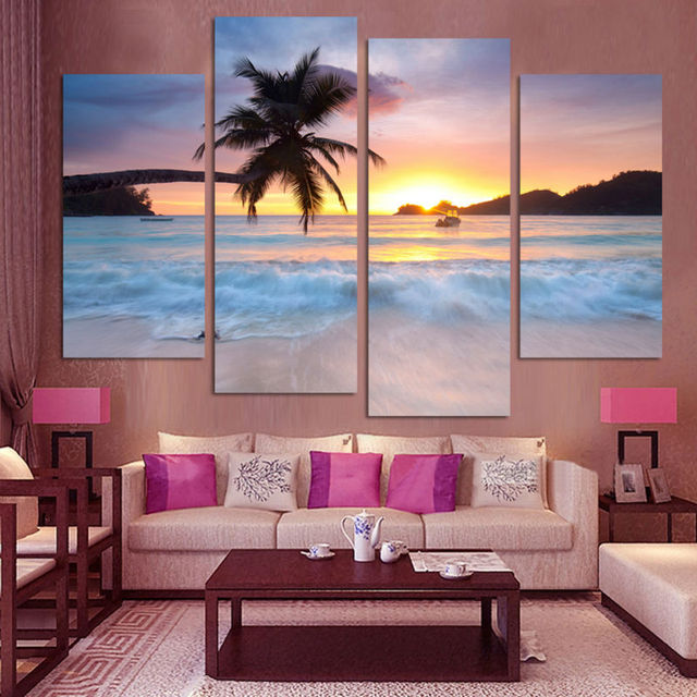 Wall art canvas painting frame hd pictures for room home decor 4 pieces coconut sunset beach