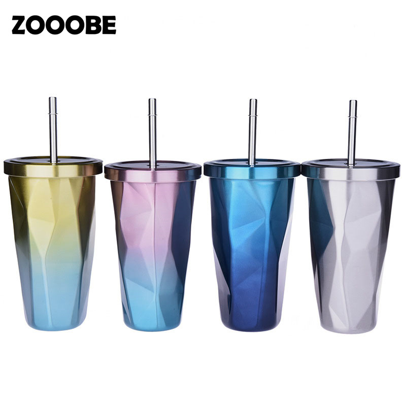 ZOOOBE 480ML Colorful Double Stainless steel with straw Lid insulation Creative Camping Tour Bottle Coffee Milk bottle