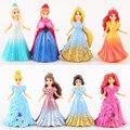 10 CM 8 pçs/lote Miniatura Action Figure Set Boneca Elsa Anna Vestido de Princesa Cinderela Pode Mudar Clássico Brinquedos para o bebê crianças meninas