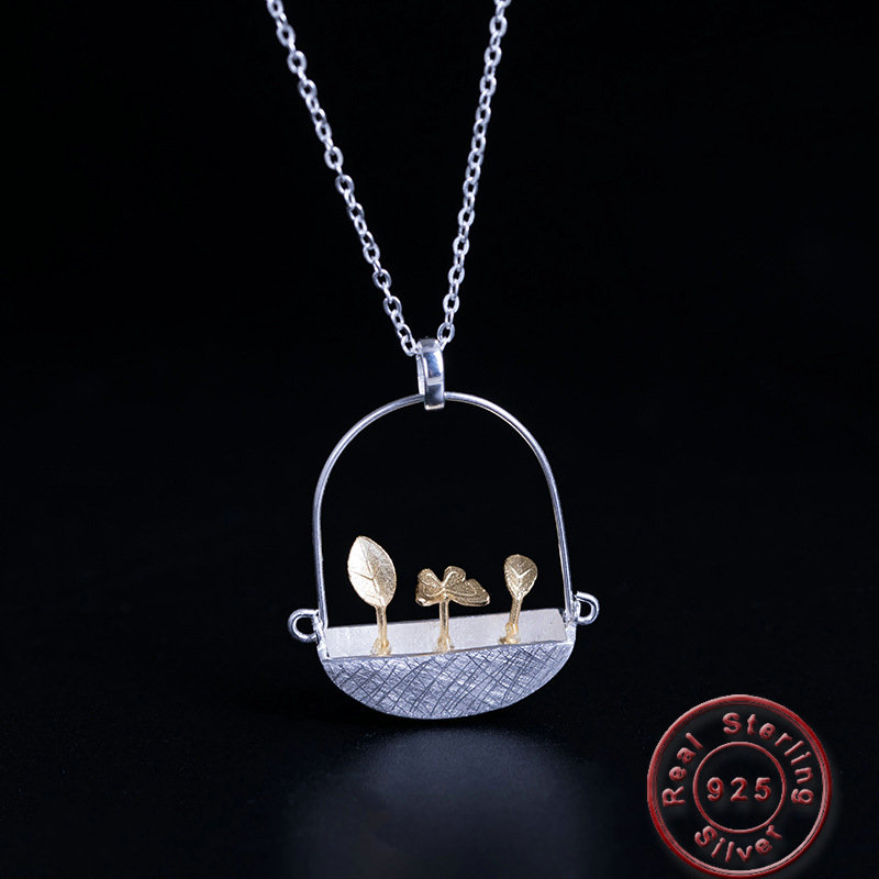 Amxiu Handmade 925 Sterling Silver Jewelry Two Tones Leave Butterfly Pendant Necklace for Women Accessories Mother's Day Gifts