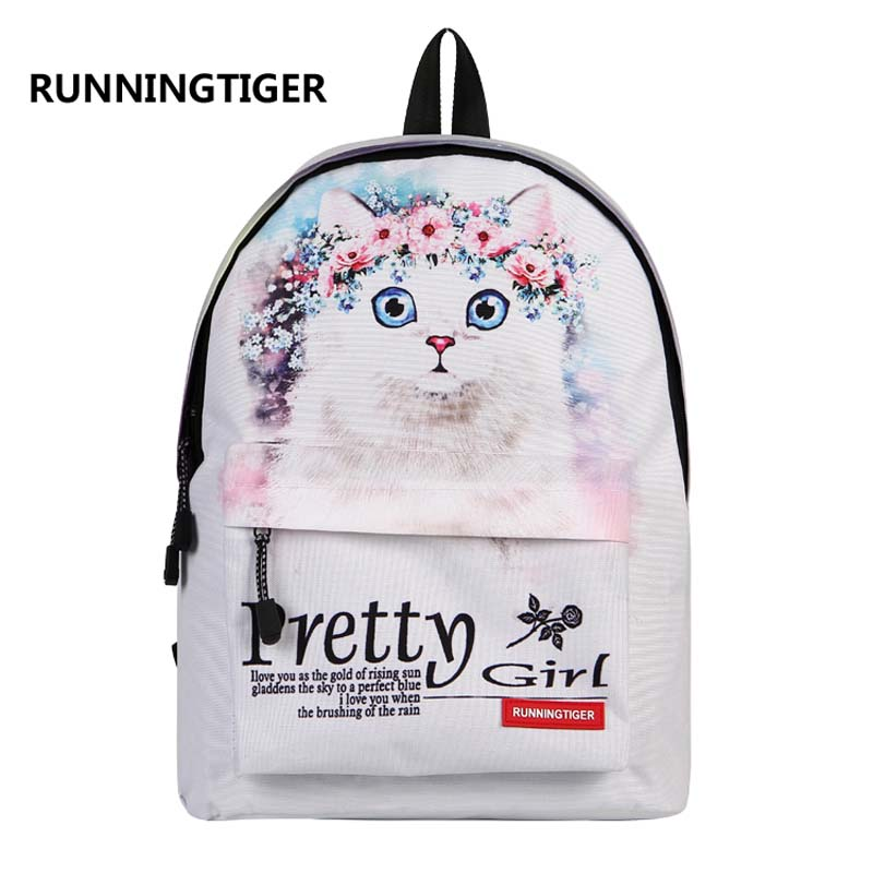 RUNNINGTIGER 3D Animal Printing Backpack Women Shoulder Bags Fashion Backpack Girls School Bags For Girls Women Travel Bags runningtiger women backpack eiffel tower printing backpack casual school bags for teenage girls travel backpack female mochila