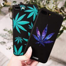 CASEIER Fashion 3D Leaf Phone Case For iPhone 6 6S 7 8 Plus Soft TPU Silicone Cases Cover XR XS Max Funda