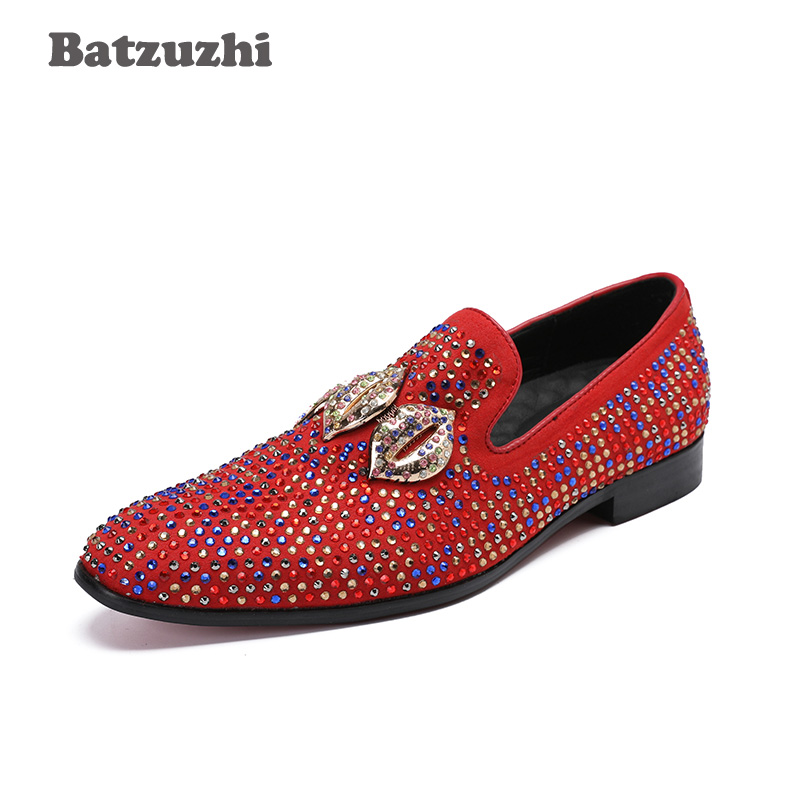 Batzuzhi Fashion Design Mouth Men Genuine Leather Shoes Men Casual Flats Men Loafers Red Rhinestones Party Wedding Shoes, 46 top brand high quality genuine leather casual men shoes cow suede comfortable loafers soft breathable shoes men flats warm