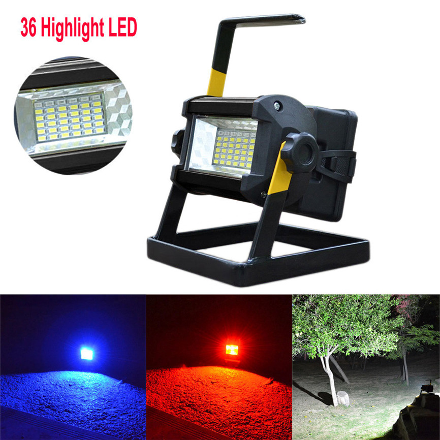 Super 2017 New Arrival 50W 36 LED Portable Rechargeable Flood Light Spot Work Camping Fishing Lamp US Plug Dropshipping B35