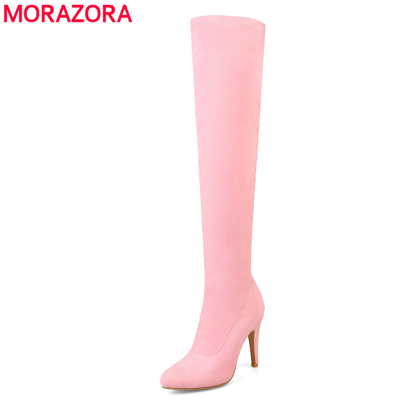 цена MORAZORA Plus size 34-48 New 2018 new fashion autumn winter stretch flock thigh high boots women high heels over the knee boots в интернет-магазинах