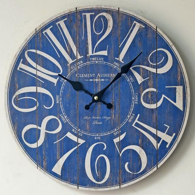Clement Blue Digital Large Wall Clock Europe Circular Clocks Living Room Home Decoration