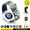Estilo de la moda de tela de lona de cuero genuino apple watch band adaptador de repuesto caja de regalo broche de metal 38mm 42mm correa de reloj de señora