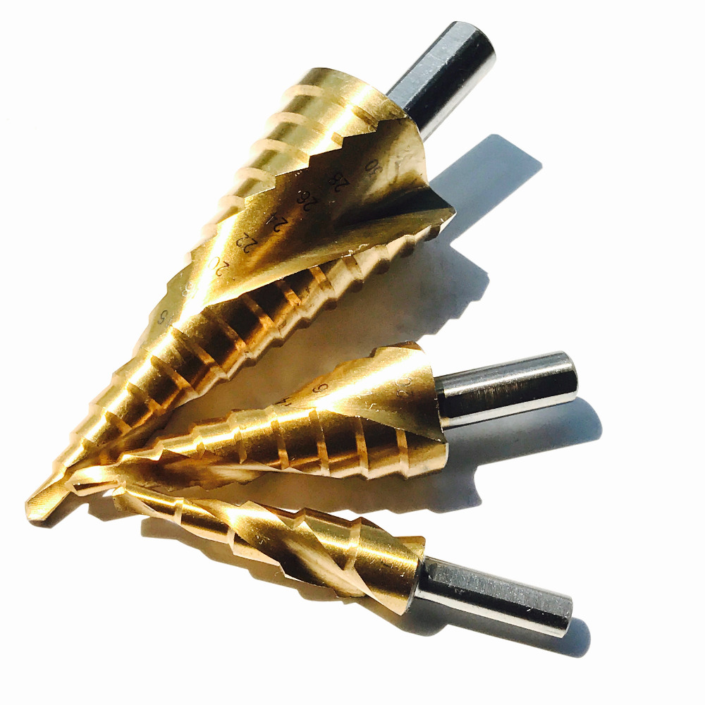 3pcs/set triangle handle HSS Spiral Step Drill Bit Set Metric Flute core drill bitscoat cone Step Drill Bit 4-12 4-20 4-32mm 3pcs hss step drill bit cone titanium coated metric spiral flute power drill hole cutter metal woodworking tools