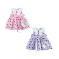 Baby Summer Girls Dress Round Neck Cotton Strawberry Stripe Print Princess Cute Sweet Stitching Sleeveless Dress