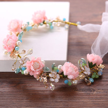 Romantic Wedding Hair Accessories For Bride Pearls Crown Colorful Flower Headband Earring Bridal Hair Jewelry Tiara Hair band