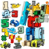 15Pcs NUmber Symbol Deformed Robot Toy Kid Puzzle Assembling Transformation Car Plane Kids Educational Toy Boy Birthday Gift