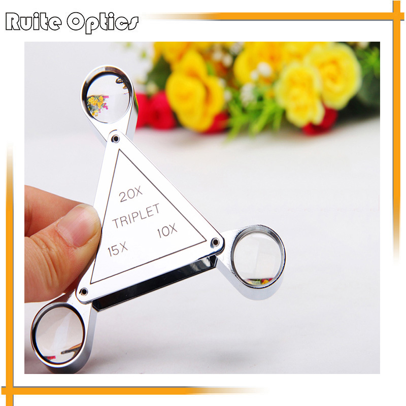 Portable Folding Triplet Magnifier Magnifying Glass Loupe 10x 20x 15x 10x gta code watching loupe magnifying glass diamond girdle magnifier for diamond cutting manufacture