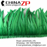 CHINAZP Feathers 30~35cm(12~14inch) Hand Work Unique Kelly Green Dyed Rooster Feather Trim For Mardi Gras Costume