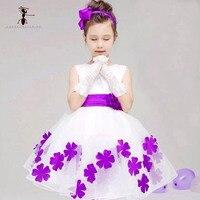 Kung Fu hormiga nueva a Vestidos de flores de niña verano de alta calidad Blanco stain vestido para niños niño niños vestido de boda