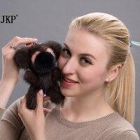 Bag ornaments water mink hair crescent bear creative car key chain cute woman plush backpack bag fur pendant