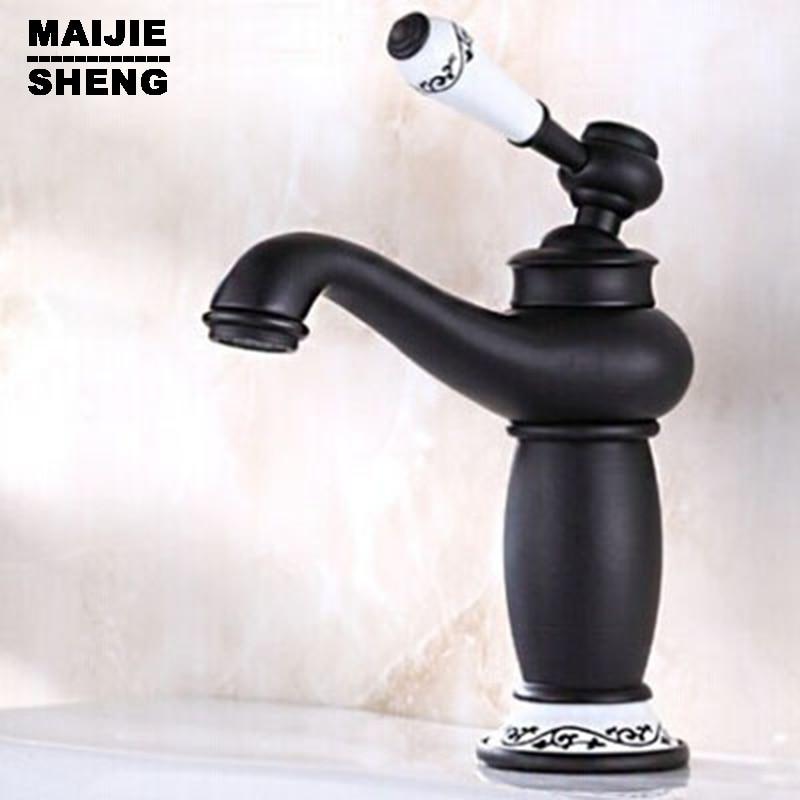 Antique robinet de salle de bain en cuivre noir robinet d'eau chaude et froide européenne robinet de lavabo robinet d'eau