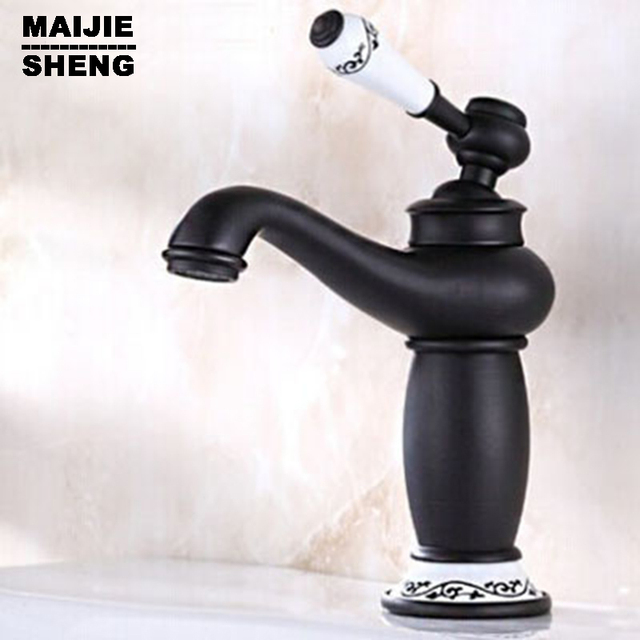 Antique Black Copper Bathroom Faucet European Hot And Cold Water Tap  Lavatory Basin Faucet Water Tap