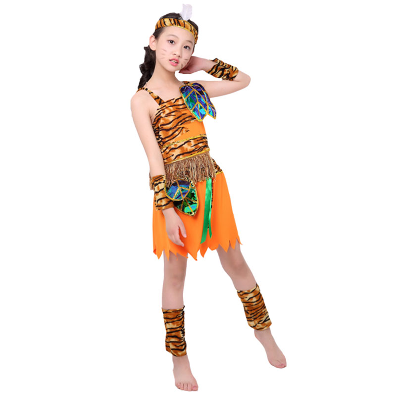 Halloween Party Cosplay Costume Children Savage Caveman Costumes Boy Leopard African Tribal Hunter Indian Clothing Girl Boy