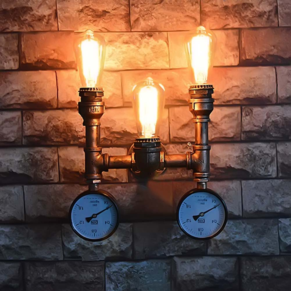 Retro Loft Style Industrial Water Pipe Lamp Wrought Iron Vintage Wall Lights For Home Bedside Edison Wall Sconce Indoor Lighting loft vintage modern wall led lamp antique lights black flower classic sconce for home indoor bedside bed retro cheap lighting