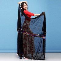 Malaya Veils Women Dance Wear Baladi Accessories Cape Shawls with Coins Belly Dance Rectangle Veils (230cm * 140cm)