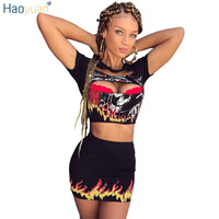 HAOYUAN Two Piece Sets 2017 Tracksuits Short Sleeve Fire Print Sexy Club Crop Tops And Mini