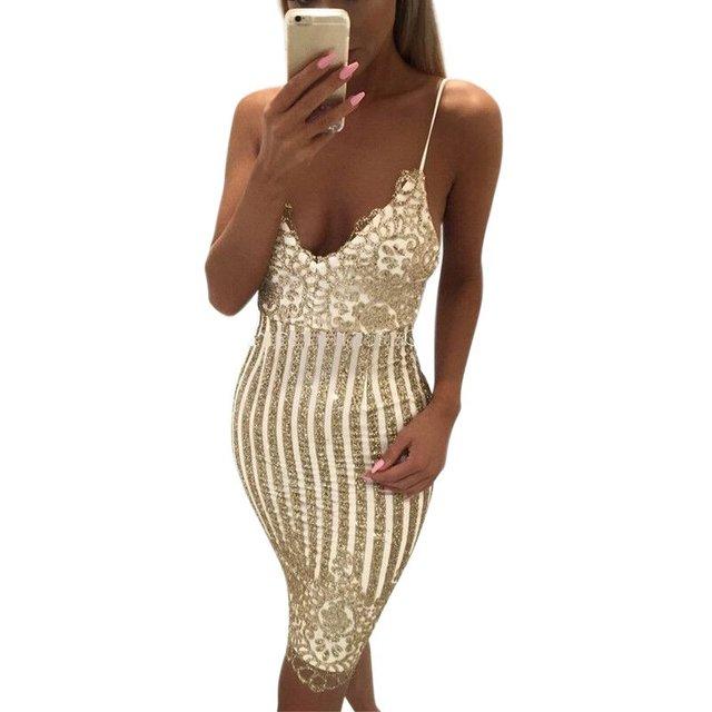 Party  dress Women V-neck elegant vintage  Shinning Gold sequined  Lace Dress