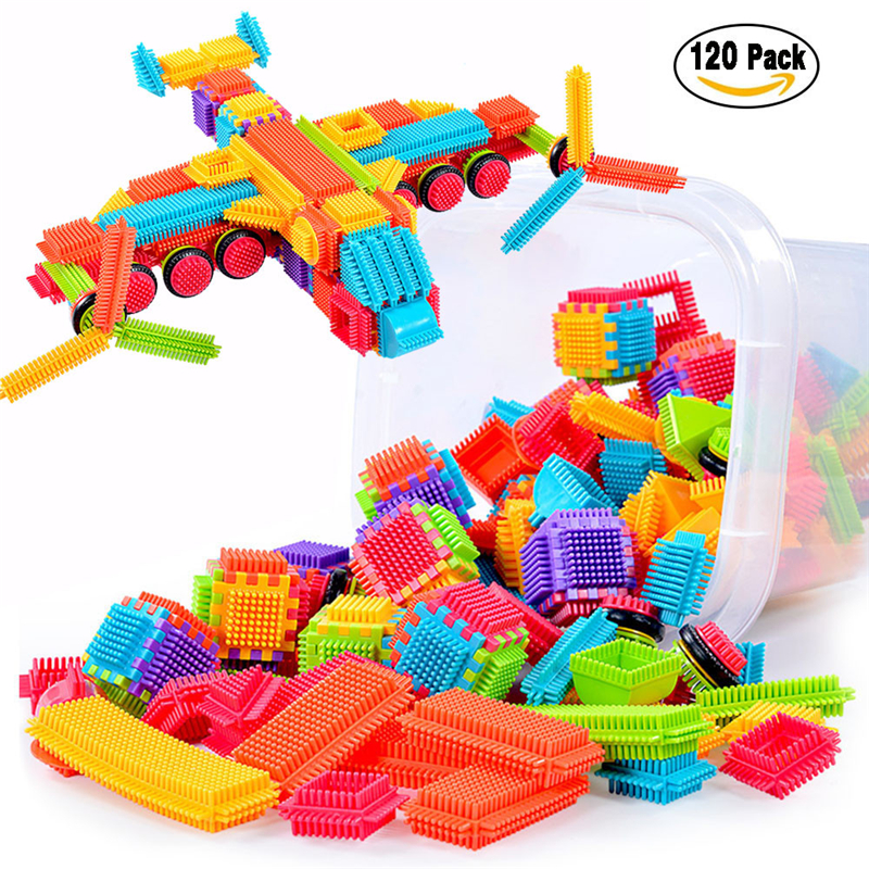 120pcs Bristle Shape 3D Building Blocks Tiles Construction Playboards Toy Toddlers Kids  ...