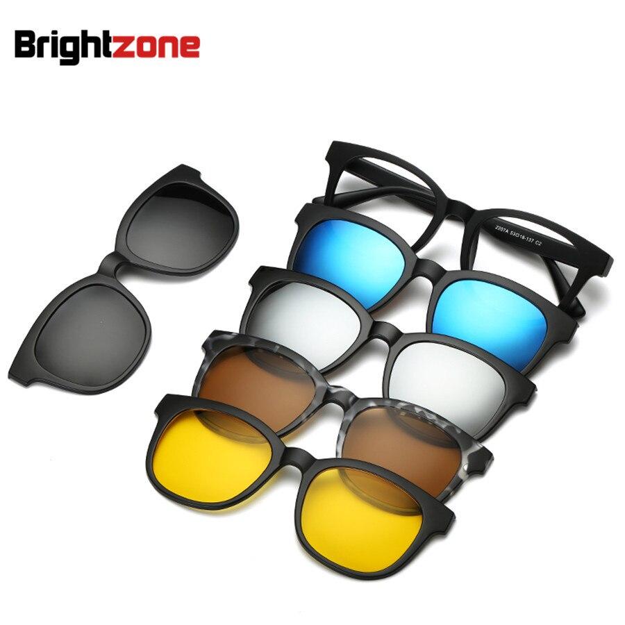Brightzone Vintage 5 +1 Set <font><b>Glasses</b></font> Women Men Mirror Polarized Sunglasses Clip-on Make Prescription Myopia Hyperopia Astigmatism