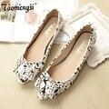 Camuflaje moda crystal punta estrecha y zapatos planos de las mujeres del verano zapatos planos de la mujer 34-43