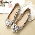 Fashion camouflage crystal pointed toe flat shoes women summer flats shoes woman 34-43