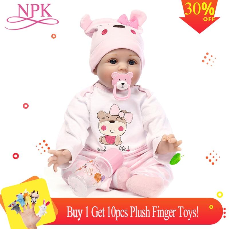 NPK poupée Reborn 55 CM Silicone souple Reborn bébé poupées vinyle jouets pour filles 3 7 ans bébé poupées + cadeau 10 pièces jouets en peluche doigt-in Poupées from Jeux et loisirs    1