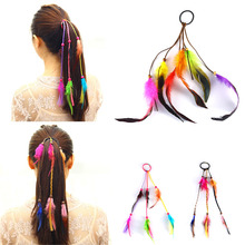 Fashion Hot Sale Bohemian Wind Color hair rope  Girls Colorful Feather ties Ponytail holder elastic ribbon Headband