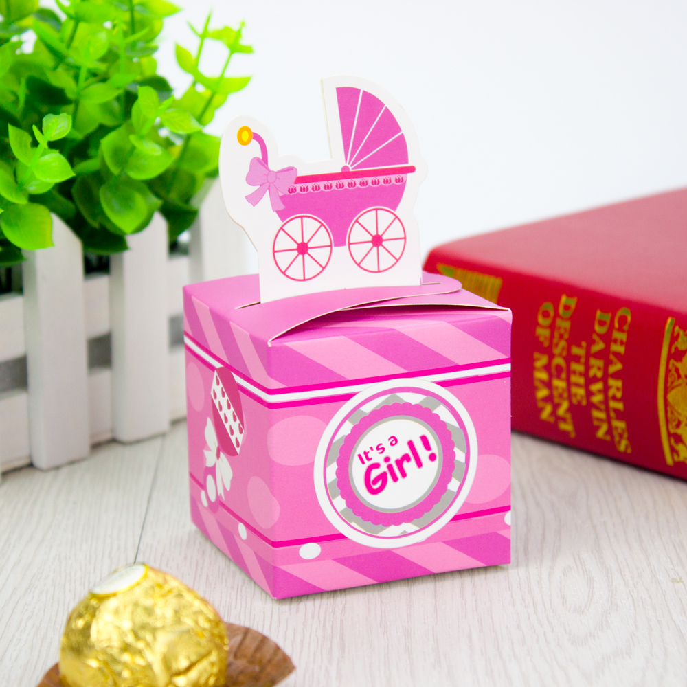 Baby Shower Girl Baby Carriage Favor Box Cupcake Box Candy Box 20PCS ...