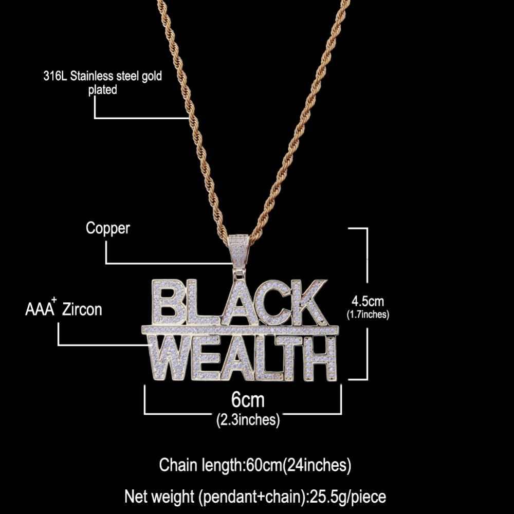 Uwin naszyjnik biżuteria Iced Out czarny bogactwo wisiorek i łańcuchy mężczyźni kobiet moda Hiphop cyrkonia Bling Bling CZ tenis łańcuchy
