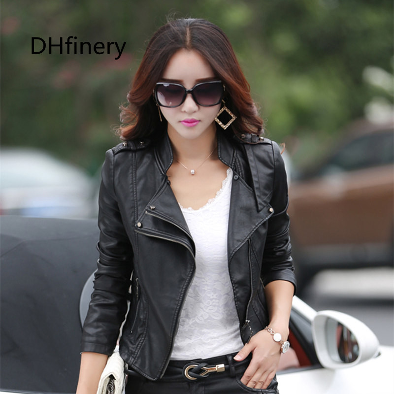 Women Leather Jacket spring and autun Short design Solid Slim PU Leather black red pink Motorcycle